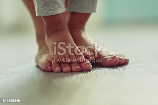 Shot of an unrecognizable mother's feet and her child's feet at home