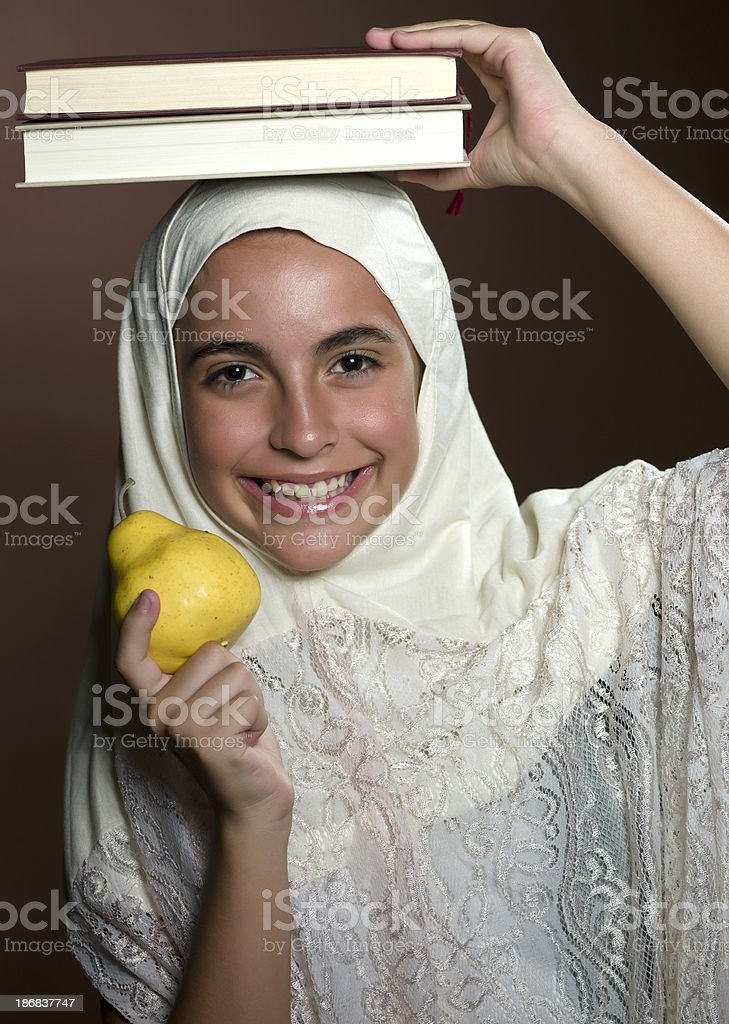 little female muslim student stock photo