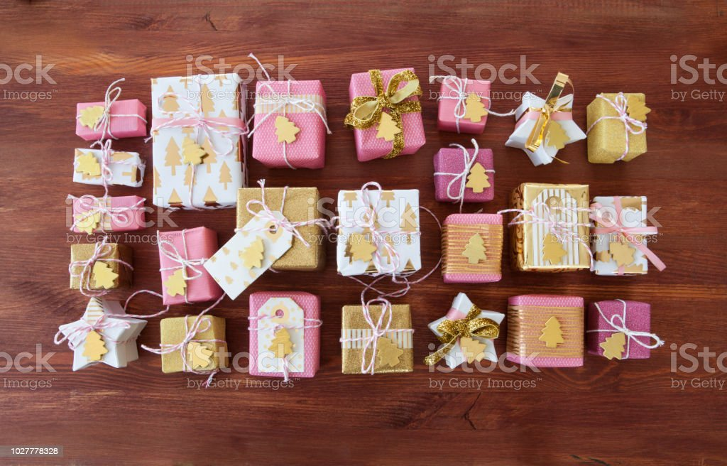 Little festive presents for christmas stock photo
