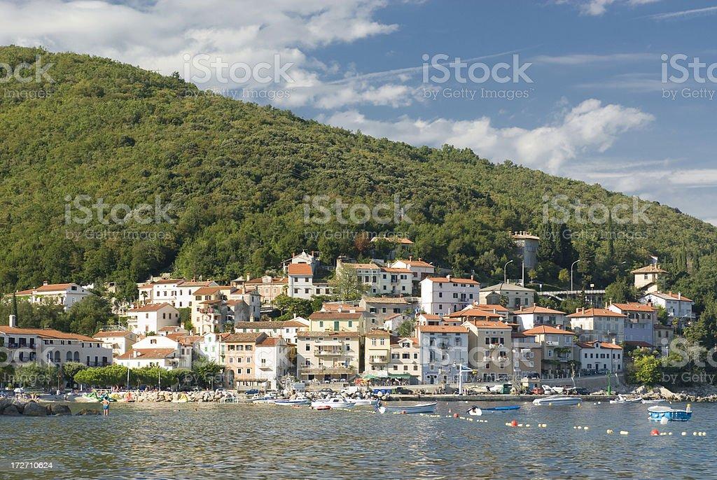 Little fishing village at the mediterranean stock photo