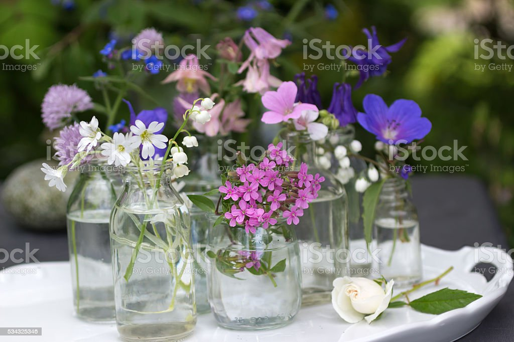 Little flowers on china serving tray stock photo