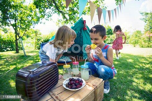 Three little friends having backyard party