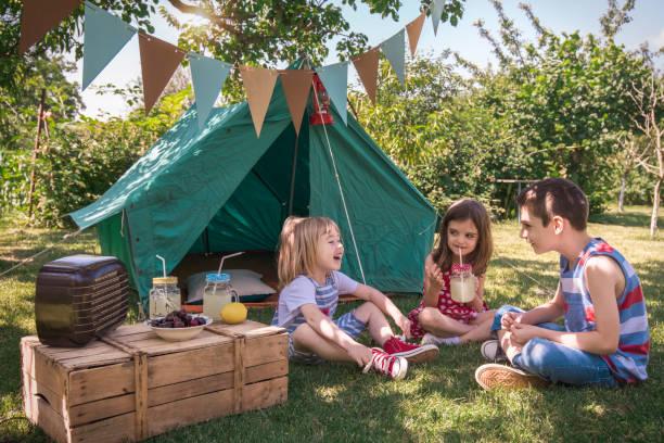 kleine freunde mit picknick - kinder picknick spiele stock-fotos und bilder