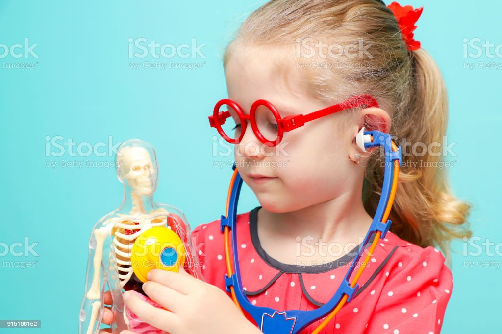 Little funny blonde girl with red glasses listen heart with stethoscope. The skeleton of a man with insides. Early childhood development. stock photo