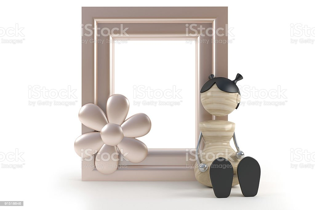 little funny girl and frame in white background royalty-free stock photo