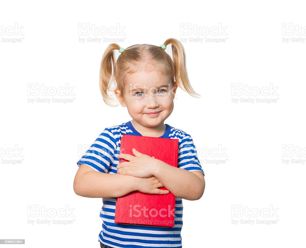 Little Funny girl  with books. stock photo