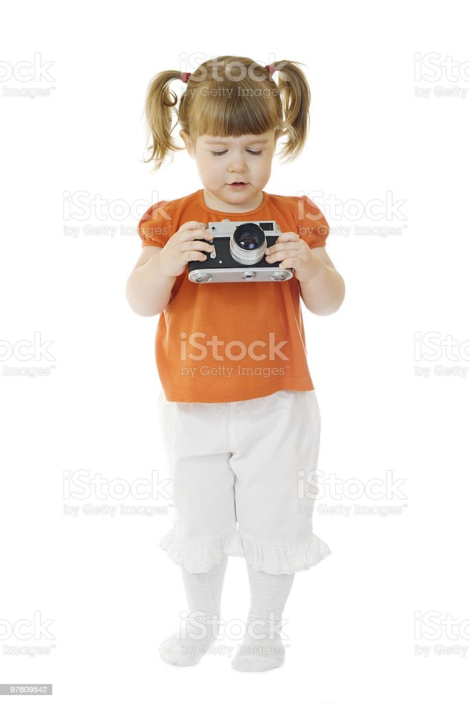 Little funny girl with photo camera royalty-free stock photo