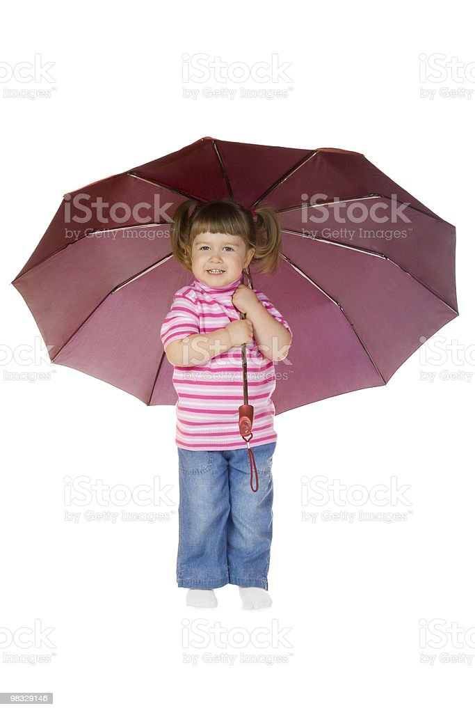 Little funny girl with umbrella royalty-free stock photo