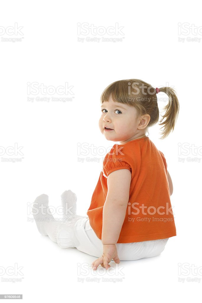 Little funny sitting girl royalty-free stock photo