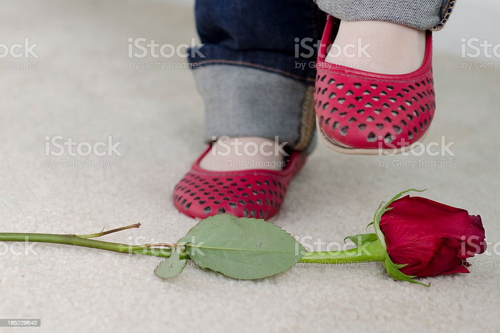 little girl about to stomp on a rose stock photo