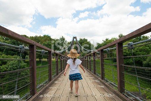 Little girl across the suspension bridge