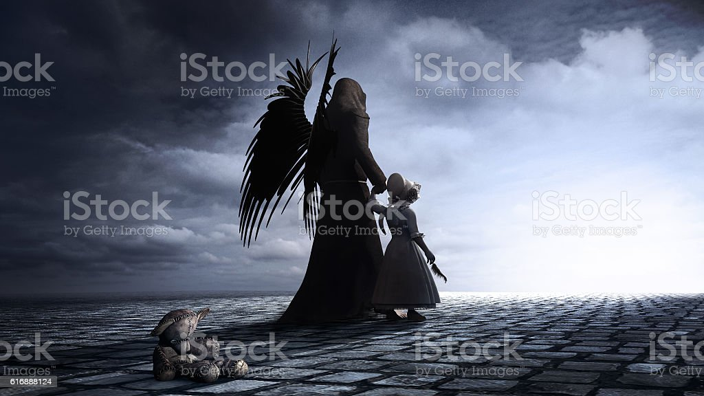 Little girl and angel stock photo