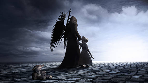 Little girl and angel stock photo