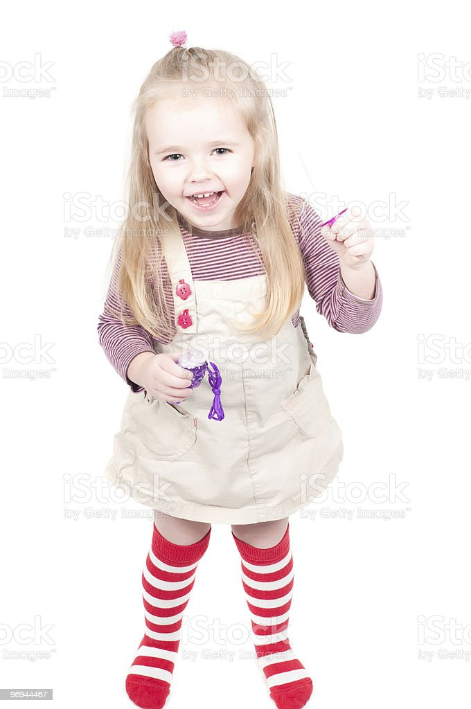 Little girl and bubbles royalty-free stock photo