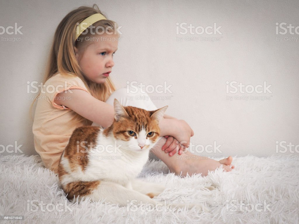 Little girl and cat sitting on the bed royalty-free stock photo