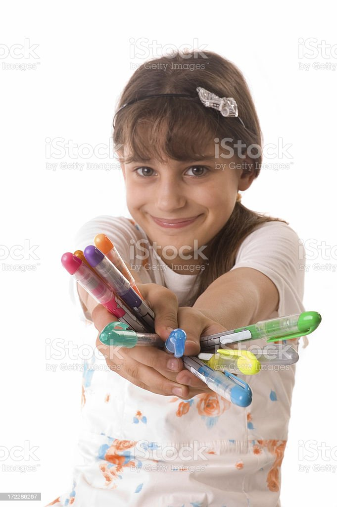 little girl and colorfull pencils royalty-free stock photo