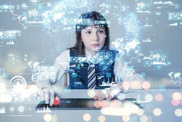 liten flicka och futuristic gui. - digital device classroom bildbanksfoton och bilder