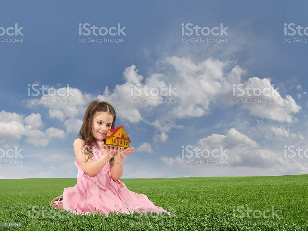 Little Girl And House royalty-free stock photo