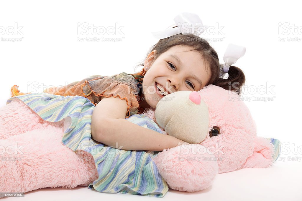 Little Girl And Teddy Bear stock photo