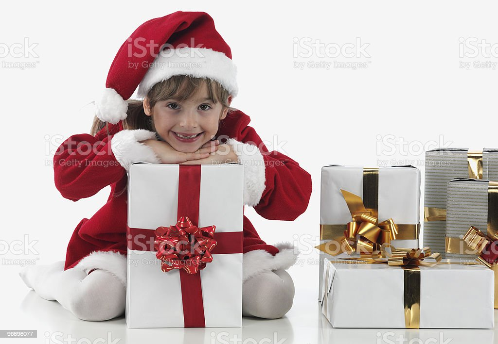 little girl and xmas presents royalty-free stock photo