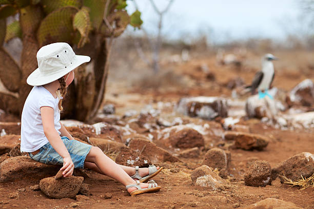 Little girl at Galapagos islands stock photo