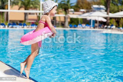 istock Little girl at the swimming pool 467302004