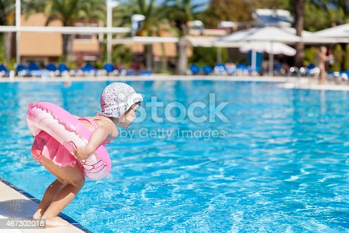 istock Little girl at the swimming pool 467302018
