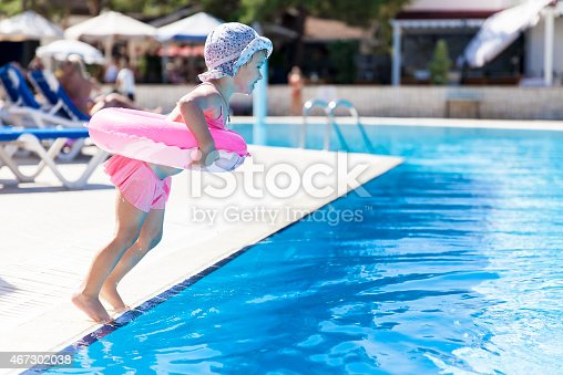 istock Little girl at the swimming pool 467302038
