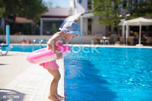 istock Little girl at the swimming pool 467327988