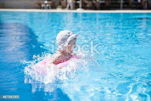 istock Little girl at the swimming pool 467392002
