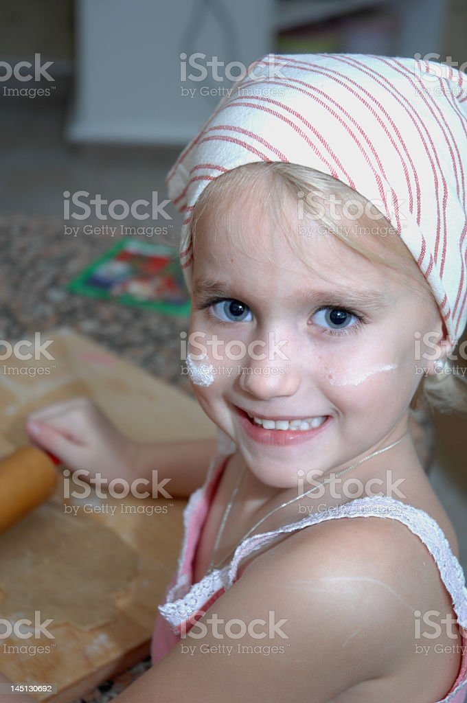 Little Girl Baking in the Kitchen royalty-free stock photo