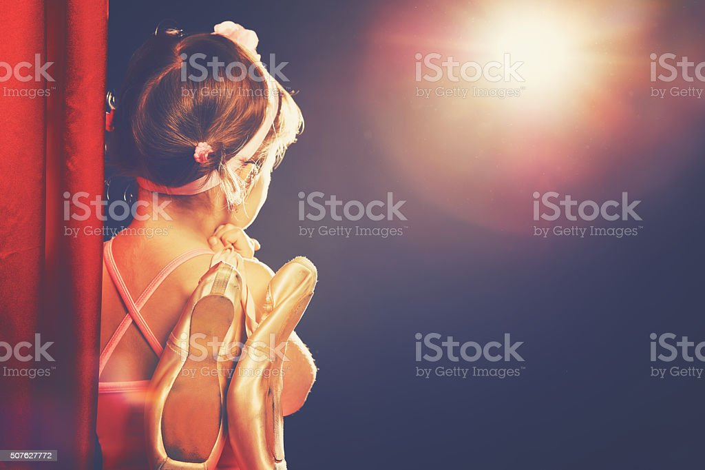 little girl ballerina ballet dancer on stage stock photo