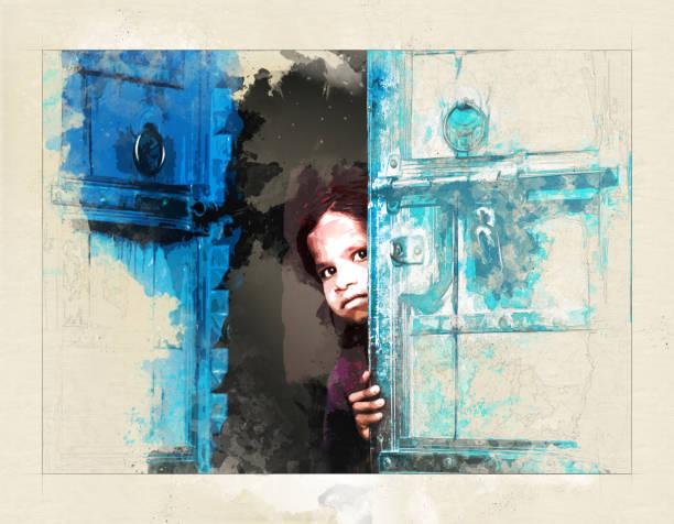 Little girl behind a door - Mixed digital technique stock photo