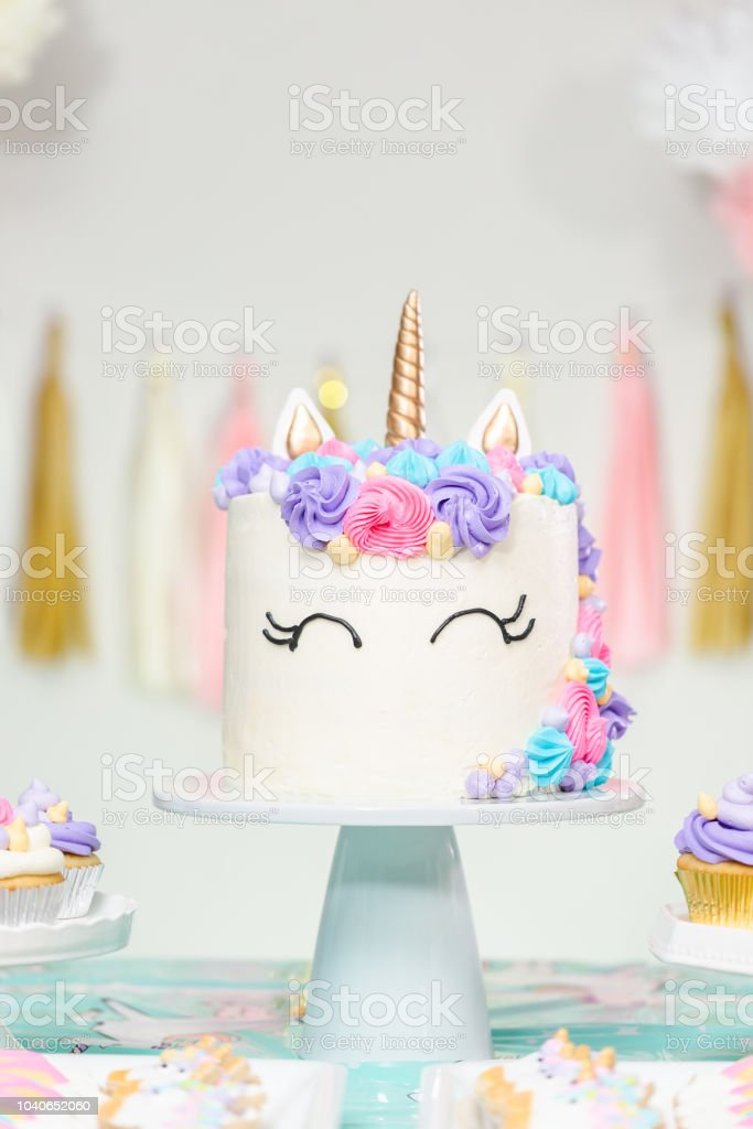 Outstanding Little Girl Birthday Party Table With Unicorn Cake Stock Photo Personalised Birthday Cards Veneteletsinfo