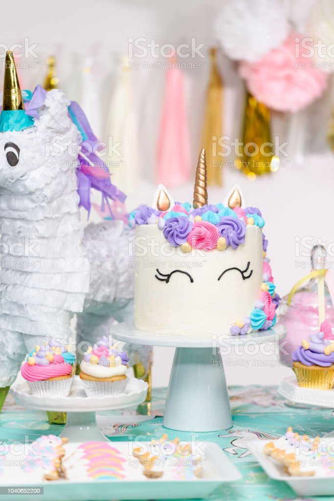 Prime Little Girl Birthday Party Table With Unicorn Cake Stock Photo Birthday Cards Printable Opercafe Filternl