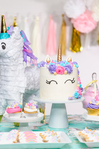 Cool Little Girl Birthday Party Table With Unicorn Cake Stock Photo Funny Birthday Cards Online Elaedamsfinfo