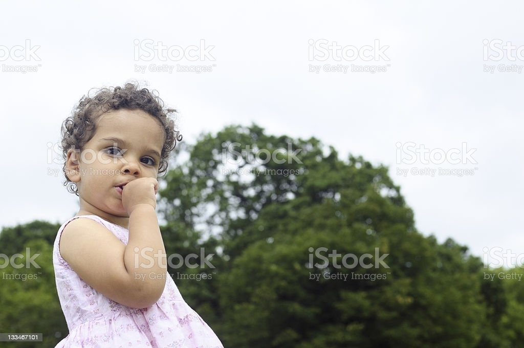 Little Girl (1-2) Biting Her Nails royalty-free stock photo