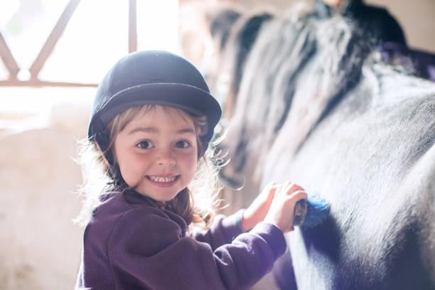 小さな女の子が彼女のポニーをブラッシング - 乗馬 ストックフォトと画像