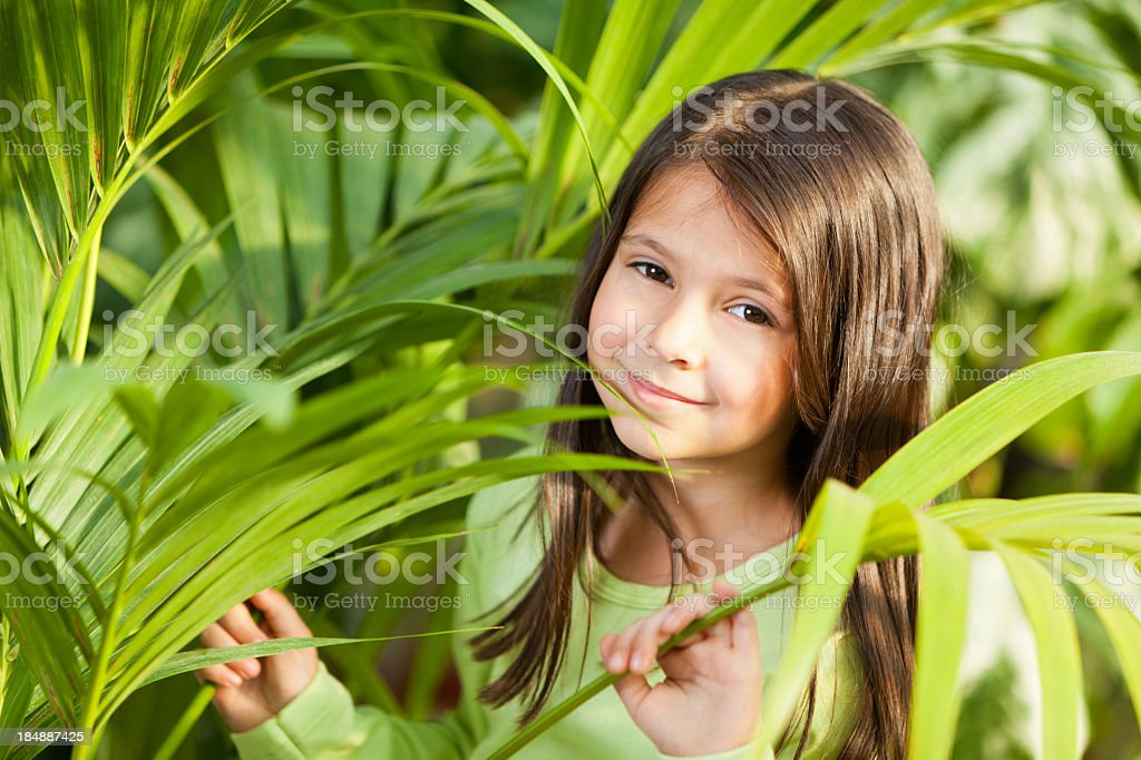 Little girl by the palm plans in greenhouse royalty-free stock photo