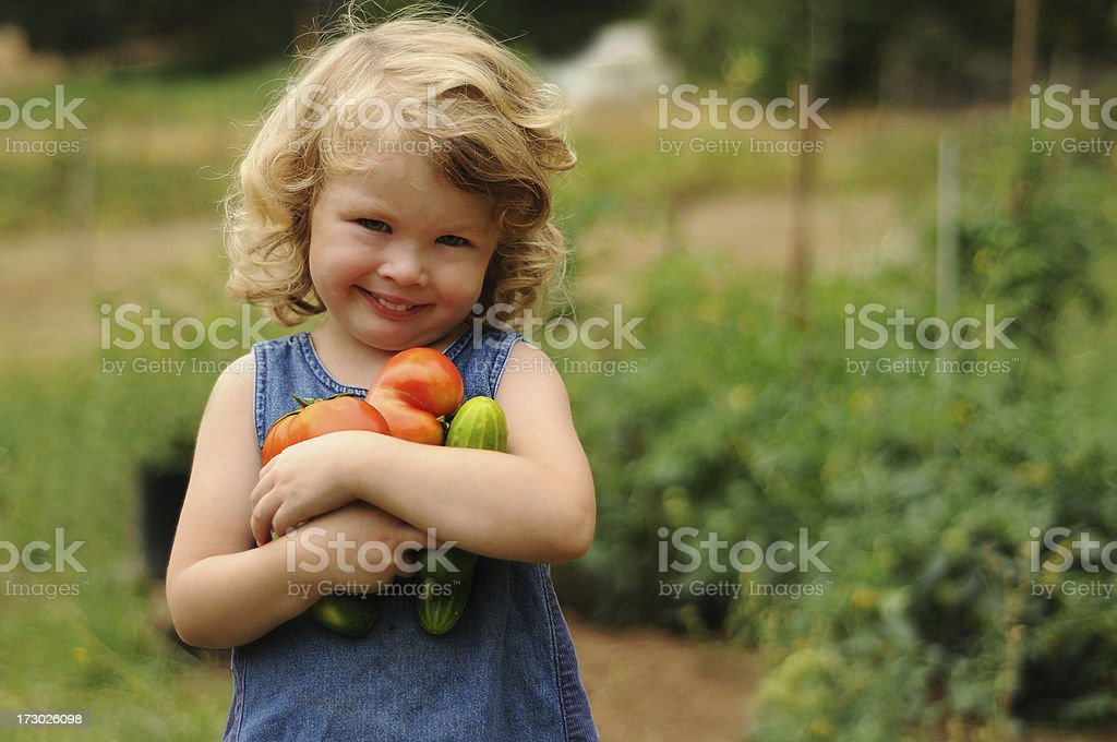 A little girl carrying vegetables in a garden royalty-free stock photo