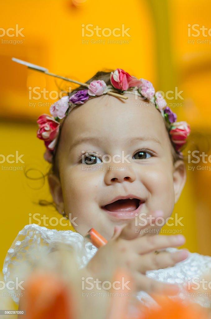 little girl celebrates first birthday royaltyfri bildbanksbilder