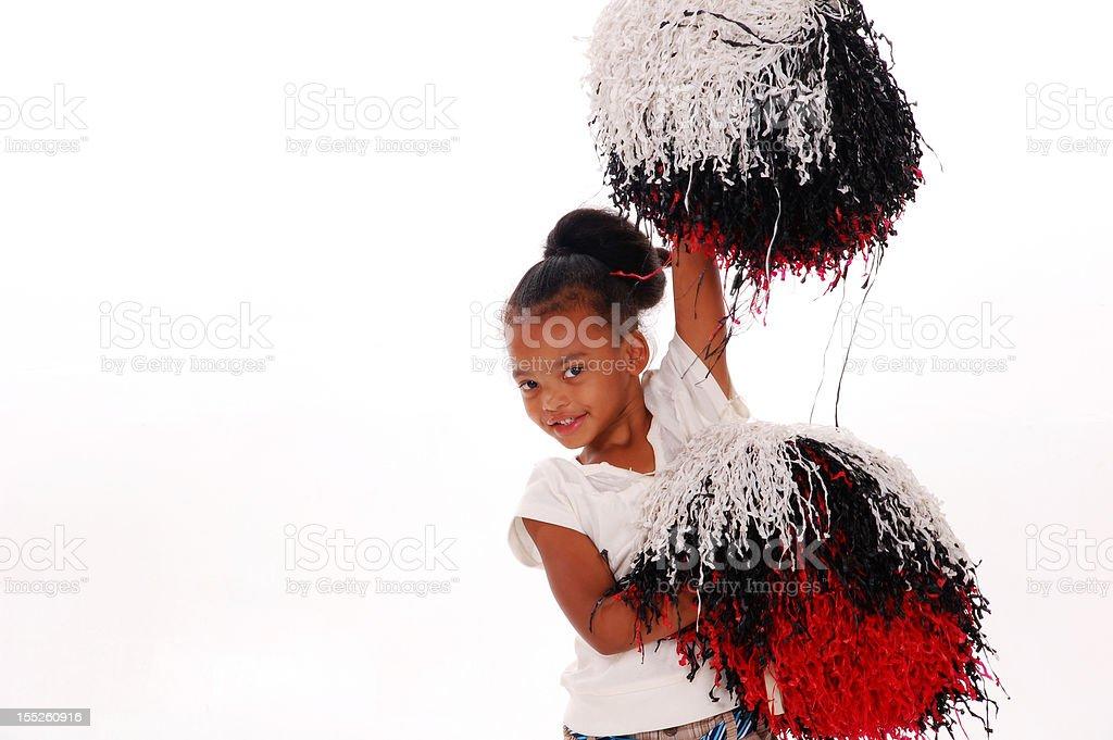 Little girl cheering stock photo