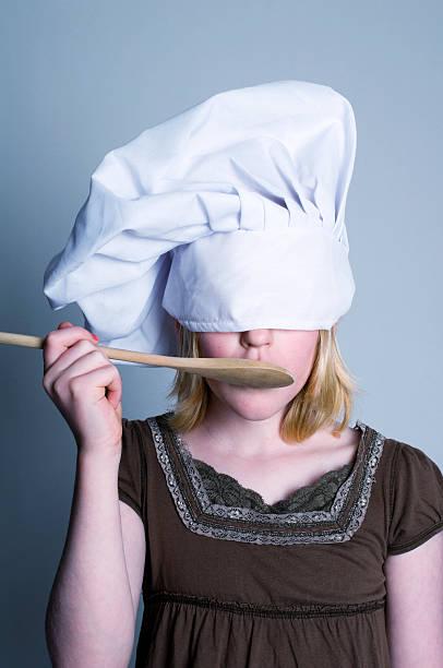 Little Girl Chef in Studio Series stock photo