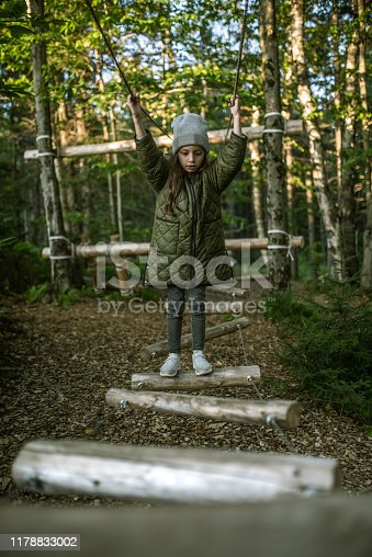 Little Girl Climbing on Rope bridge at adventure climbing park  in the forest