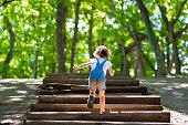 森の中の階段を登る少女