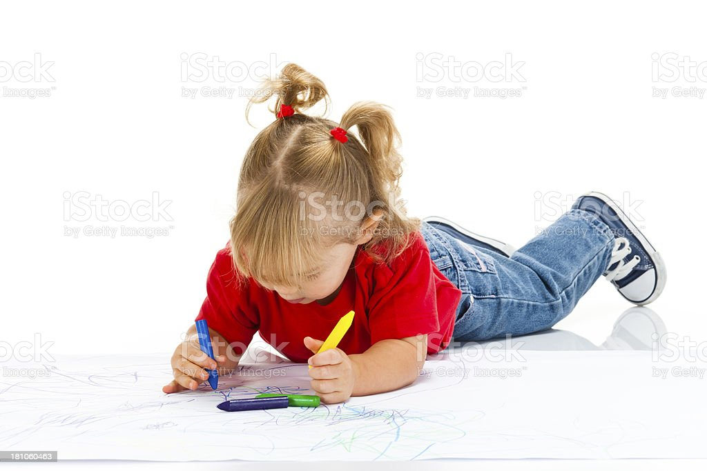 Little Girl Coloring royalty-free stock photo