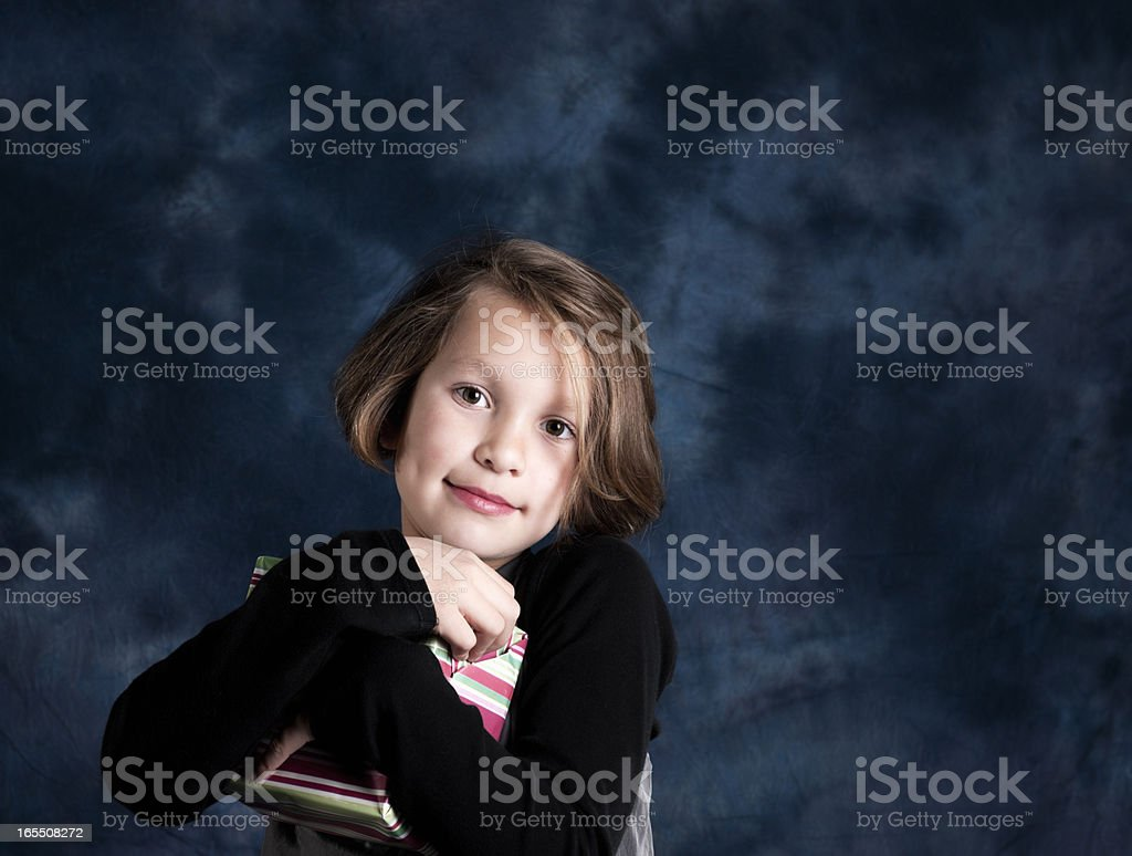 Little Girl, Colourful Birthday Gift royalty-free stock photo