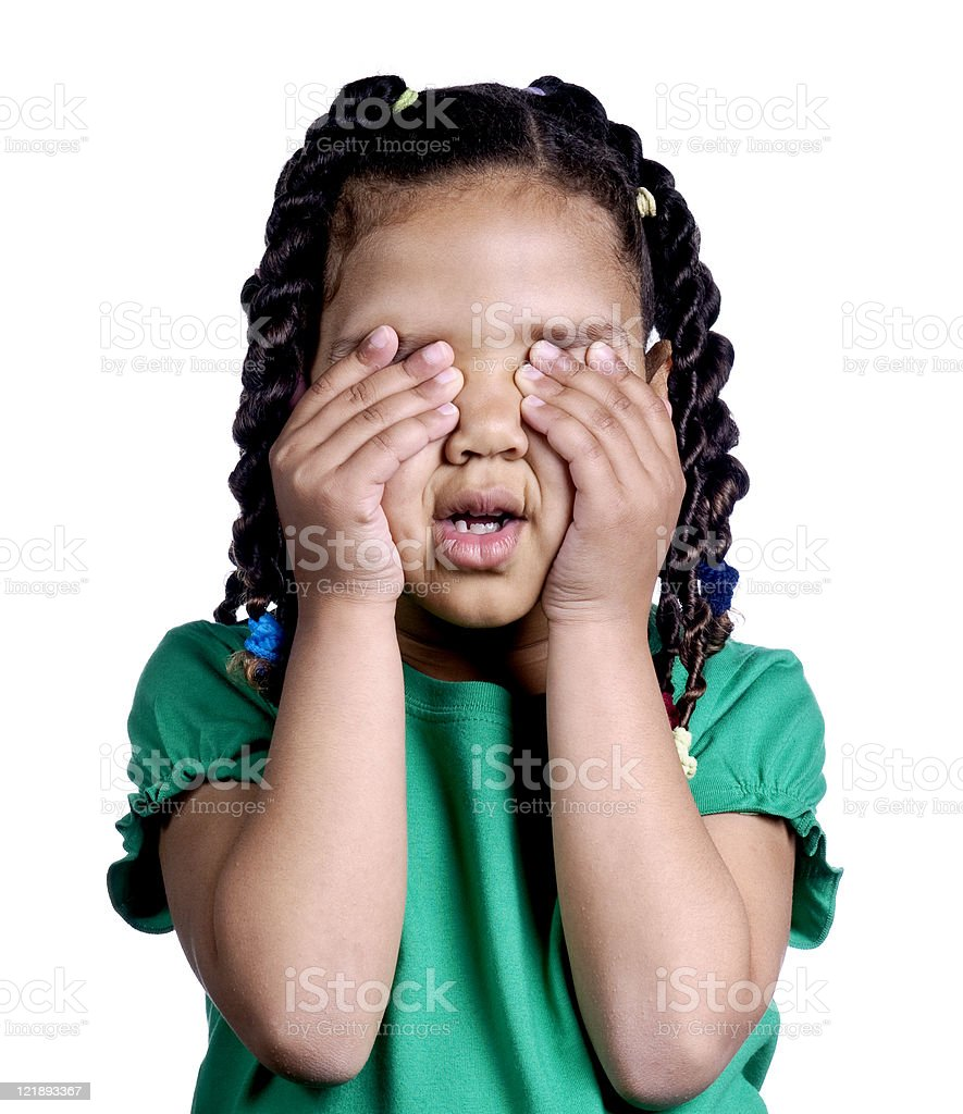 Little Girl Covering Her Eyes royalty-free stock photo