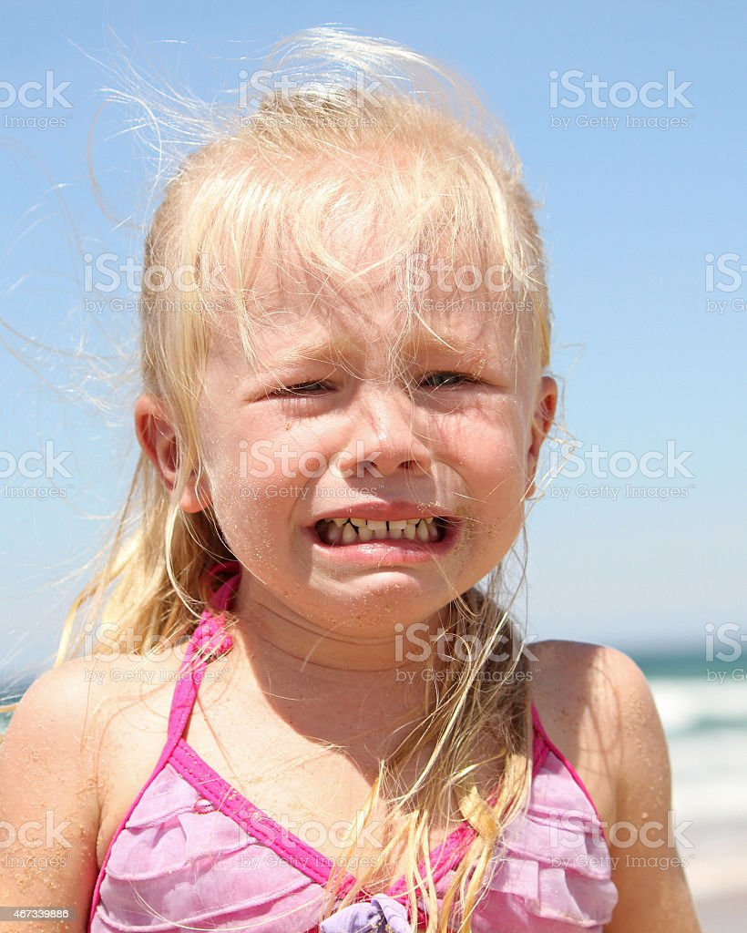 Little Girl Crying At The Beach Stock Photo  More -6972