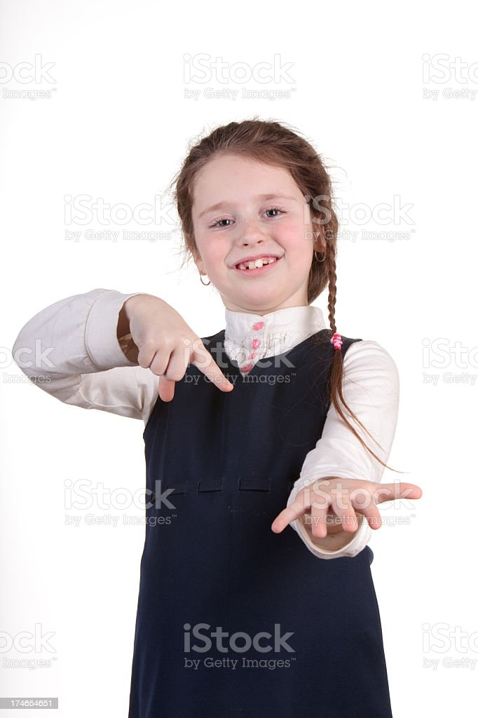 Little girl demonstrate something on the palm royalty-free stock photo